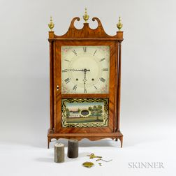 Eli Terry & Son Mahogany Veneer Pillar and Scroll Shelf Clock