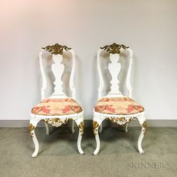 Pair of Rococo-style Carved, Painted, and Parcel-gilt Side Chairs.     Estimate $200-400