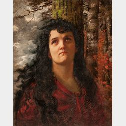 Louise Rüdisühli (Swiss, 1867-1928)      Portrait of a Woman in Red
