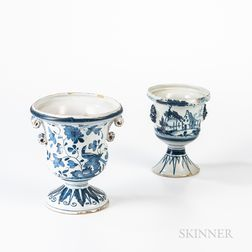 Two Tin-glazed Earthenware Flower Urns