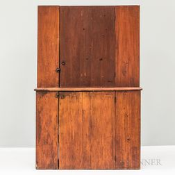 Country Red-stained Pine Step-back Cupboard