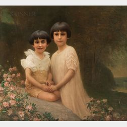 Benjamin Osro Eggleston (American, 1867-1937)      Portrait of Two Young Sisters in a Landscape