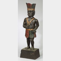 """Carved and Painted Wood Cigar Store Dwarf """"Virginian"""" Indian"""
