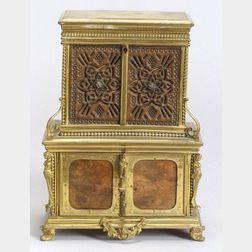 Miniature Baroque-style Burlwood and Gilt Metal Mounted Bureau-form   Perfume and Jewelry Box