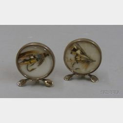 Pair of British Sterling Silver Framed Placecard Holders with Encased Trout Fishing Flies.