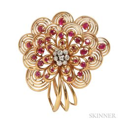 18kt Gold, Ruby, and Diamond Clip Brooch, Chaumet