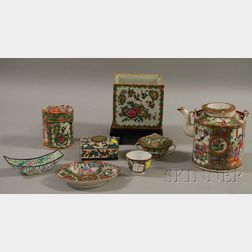 Six Pieces of Chinese Export Porcelain Rose Medallion, a Peking Enameled Dish, and a Cloisonne Box