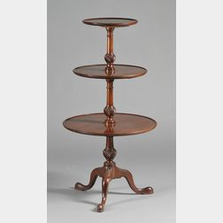 Nathan Margolis Shop Chippendale-style Carved Mahogany Three-tier Dish-top   Dumbwaiter