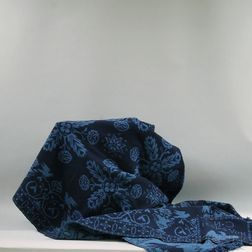 Two-tone Blue Woven Wool Coverlet