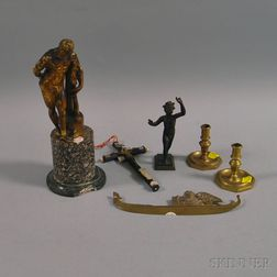 Three Bronze Florentine Mementos, Two Brass Tapersticks and a Crucifix