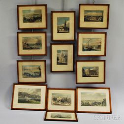 Twelve Framed and Hand-colored Bartlett Prints