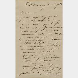 Corot, Jean Baptiste Camille (1796-1875) Autograph Letter Signed, Ville-d'Avray, 2 July [1861].