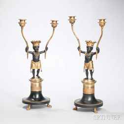 Pair of Gilt-bronze Two-light Candelabra with Blackamoors