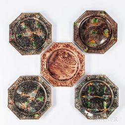 Five Press-molded Octagonal Tortoiseshell-glazed Earthenware Plates