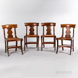 """Set of Four """"Grecian"""" Tiger Maple and Bird's-eye Maple Chairs"""