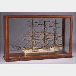 Cased Carved and Painted Wooden Model of the American Ship Boston