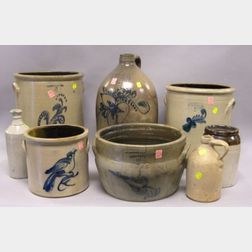 Four Stoneware Crocks, Two Jugs, a Large Milk Pan and a Bottle