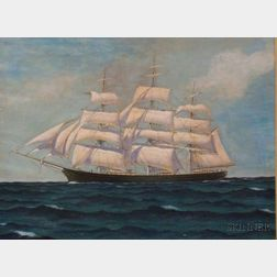Framed 20th Century American School Oil on Canvas Portrait of the Clipper Ship Cutty Sark