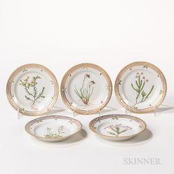 Sixteen Royal Copenhagen Flora Danica Side Plates