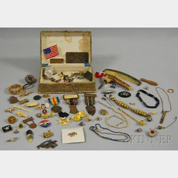 Collection of Gold-filled Jewelry and Medals in a Shagreen Box
