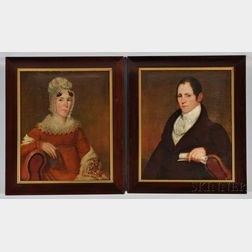 American School, 19th Century      Portraits of John Nielson and His Wife Lydia (Mendenhall), Harrisburg, Pennsylvania