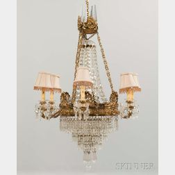 Empire-style Brass and Crystal Six-light Chandelier