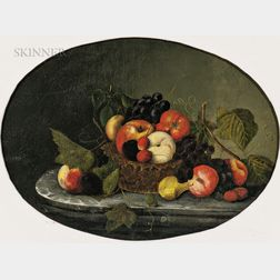 School of Severin Roesen (German/American, 1815-1872)      Fruit Still Life on a Marble Tabletop