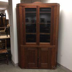 Amish Glazed Walnut Corner Cupboard