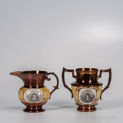 Two Staffordshire Copper Lustre Decorated Lafayette/Cornwallis Items