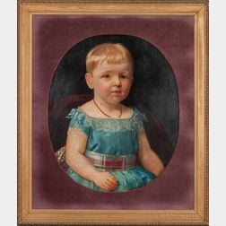 German School, 19th Century      Child in Blue with Coral Beads/Portrait of Lotte Klopsch at Age Three
