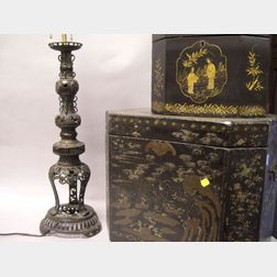Two Chinese Export Lacquerware Tea Boxes and a Chinese Bronze Lamp.