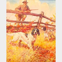 American School, 20th Century    A Hunter with His Setters