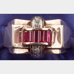 Retro 14kt Rose Gold, Synthetic Ruby, and Diamond Ring