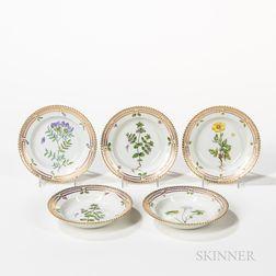 Sixteen Royal Copenhagen Flora Danica Rimmed Bowls