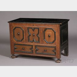 Oak and Pine Carved and Painted Chest over Drawer