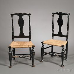 Pair of Black-painted Queen Anne Side Chairs