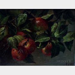 American School, 19th Century      Bough of Ripe Apples with a Wasp