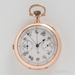 18kt Gold Swiss Chronograph Open-face Watch