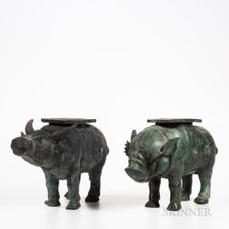 Two Bronze Animal-shaped Stands