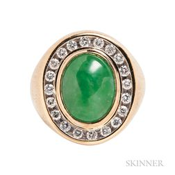 14kt Gold, Jade, and Diamond Ring