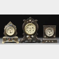 Three Iron Front Silas B. Terry Torsion Pendulum Clocks