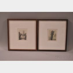 Robert Kipniss (American, b. 1931)      Two Framed Lithographs: Barn Roofs