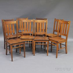 Set of Eight Paine Furniture Arts & Crafts Oak Dining Chairs