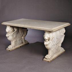 Victorian Carrara Marble Lion Garden Table
