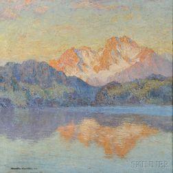 Hamilton Hamilton (American, 1847-1928)    Mountain at Sunset