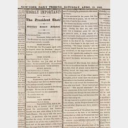 Lincoln, Abraham (1809-1865) Assassination; Issues of the New York Daily Tribune  , January 1865-April 1866.