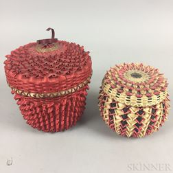 Two Contemporary Lidded Ash Baskets