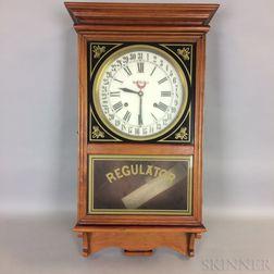 "Seth Thomas Cherry and Reverse-painted ""Regulator"" Wall Clock"