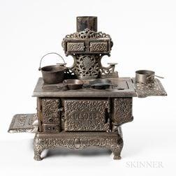 Salesman's Model Eagle Cast Iron Stove and Four Pans