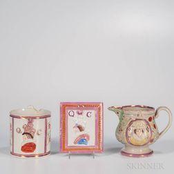 Three Pink Lustre Decorated British Commemorative Items
